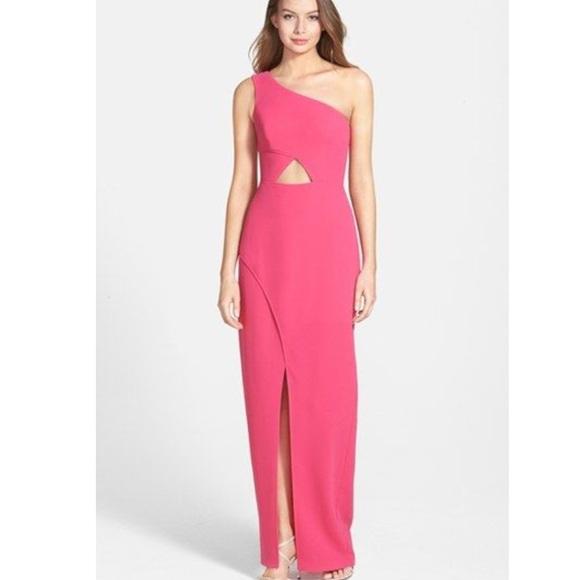 BCBGMaxAzria Dresses & Skirts - New bcbg pink one shoulder cut out dress